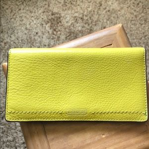 Coach checkbook holder - gently loved - lime green